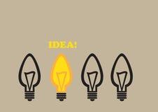 Glühlampe-Ideen-Begriffsvektor-Karikatur-Illustration Stockbild