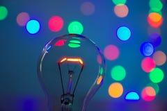 Glühlampe im bokeh stockfotografie