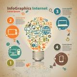 Glühlampe Infographics mit Wolke der Anwendung Stockfoto