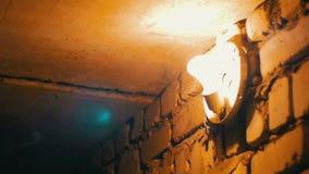 Glühlampe leuchtet auf einer Steinwand stock video footage