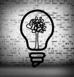 Glühlampe mit Baum am Ziegelstein zeichnete Wand lizenzfreie abbildung