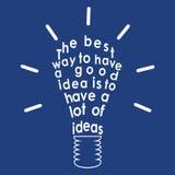 Glühlampe mit einem Zitat. Vektor Stockfoto