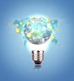 Glühlampe mit Erde des Sozialen Netzes Lizenzfreie Stockfotos