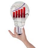 Glühlampe mit Finanzdiagrammen. Lizenzfreie Stockfotografie