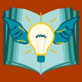 Glühlampe mit Flügeln auf dem Hintergrund eines offenen Buches vektor abbildung