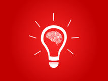 Glühlampe mit Gehirn Lizenzfreies Stockfoto
