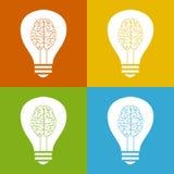 Glühlampe mit Gehirn Lizenzfreies Stockbild