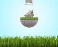 Glühlampe mit Gras und Dollar nach innen auf Himmelhintergrund, hellgrünes Feld herum Lizenzfreie Stockfotografie
