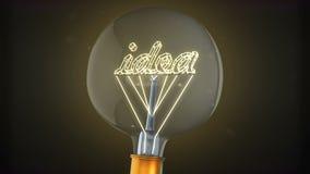 Glühlampe mit Konzept der Idee 3d lizenzfreie abbildung