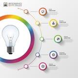 Glühlampe mit Kreiselementen für infographic Auch im corel abgehobenen Betrag Lizenzfreies Stockbild