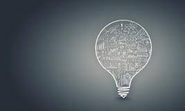 Glühlampe mit Skizzen Lizenzfreie Stockfotos