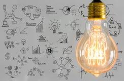Glühlampe mit Zeichnungsdiagramm Lizenzfreie Stockfotos