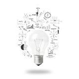 Glühlampe mit ZeichnungsUnternehmensplan-Strategiekonzeptidee Stockfotografie