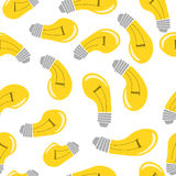 Glühlampe, nahtloses Muster auf weißem Hintergrund Stockbild