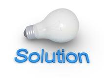 Glühlampe und Lösungswort Stockfotos