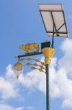 Glühlampe und Solarenergie der goldenen Kuh mit Hintergrund des blauen Himmels Lizenzfreies Stockfoto