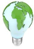 Glühlampe und Weltkarte Stockfotografie