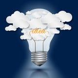 Glühlampe- und Wolkenarbeit für Idee lizenzfreie abbildung