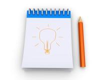 Glühlampe wird zu einem Notizblock gezeichnet Stockfotos