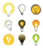 Glühlampe-Zeichen-Set Stockfoto