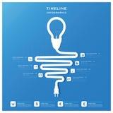Glühlampe-Zeitachse-Geschäft Infographic-Design-Schablone Lizenzfreie Stockfotos