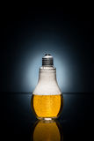 Glühlampebier mit Tropfen und Eis Stockbild