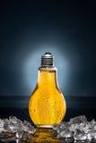 Glühlampebier mit Tropfen und Eis Lizenzfreies Stockfoto