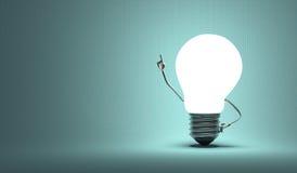Glühlampecharakter, aha Moment, quadrierte blauen Hintergrund Stockbilder