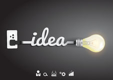 Glühlampeidee des Vektors mit Inspirationskonzept Lizenzfreie Stockbilder