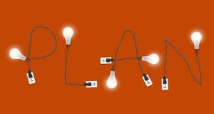 Glühlampeidee des Vektors mit Plankonzept vektor abbildung