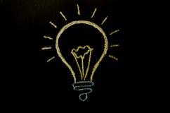 Glühlampeideenillustrationszeichnung auf der Wand mit Kreide Stockbild