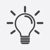 Glühlampeikone im weißen Hintergrund Flaches illustrati Vektor der Idee Stockfoto