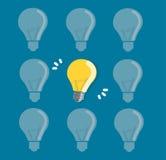 Glühlampeikonenhintergrund, kreative Konzepte Stockfotos