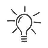 Glühlampeikonenskizze im Vektor lizenzfreie abbildung