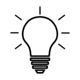 Glühlampelinie Ikonenvektor lokalisiert auf weißem Hintergrund Ideenzeichen, Lösung, denkendes Konzept Beleuchten der elektrische Stockbild