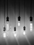 Glühlampen der industriellen Art von verschiedenen Formen Lizenzfreie Stockfotos