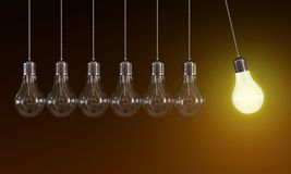 Glühlampen in der unaufhörlichen Bewegung Lizenzfreie Stockbilder