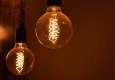 Glühlampen der Weinlese Stockfotos