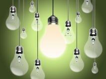 Glühlampen mit Idee Conzept Stockbilder
