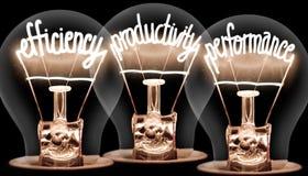 Glühlampen mit Produktivitätskonzept stockfotos
