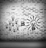 Glühlampen an Ziegelstein gezeichneter Wand lizenzfreie abbildung
