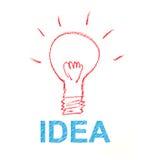 Glühlampezeichenstiftskizze mit Ideenkonzept stock abbildung