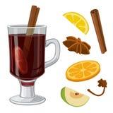 Glühwein mit Glas Getränk und Bestandteilen Vector flache Illustration für Grußkarte, Einladung, Fahne und Plakat Lizenzfreie Stockfotografie