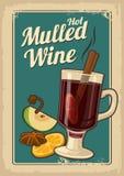 Glühwein mit Glas Getränk und Bestandteilen Vektoralter Papierbeschaffenheitshintergrund Weinlesevektorillustration für Grußkarte Lizenzfreies Stockbild