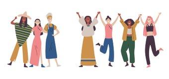 Gl?ckliche Frauen oder M?dchen, die zusammen stehen und H?ndchenhalten lizenzfreie abbildung