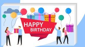Gl?ckliche Geburtstagsfeier-Feier mit Freund Vektor-Illustration einer alles- Gute zum Geburtstaggru?-Karte Geschenk-Entwurf f?r  stock abbildung