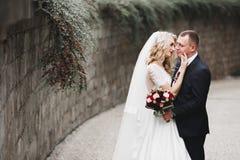 Gl?ckliche Hochzeitspaare, die in einen botanischen Park gehen lizenzfreie stockbilder