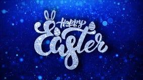 Gl?cklicher blauer Text Ostern w?nscht Partikel-Gr??e, Einladung, Feier-Hintergrund