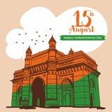 Gl?cklicher Unabh?ngigkeitstag Zugang von Indien an Illustration Mumbais Indien vektor abbildung