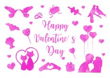 Gl?cklicher Valentinstagikonensatz Aquarellschattenbilder Nette Romanze Liebessammlung Gestaltungselemente mit Herzen vektor abbildung